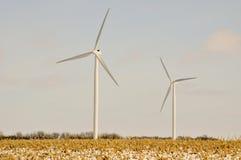2 turbinas de viento de Indiana Imagenes de archivo