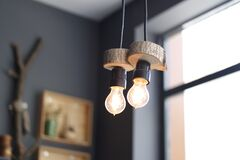 2 Turned on Hanging Lamps Royalty Free Stock Photo