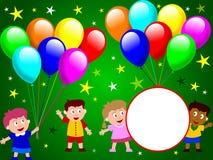 2 ungar party tid royaltyfri illustrationer