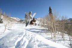 2 uppgiftsboarderhits hoppar snowkvinnor Royaltyfri Foto