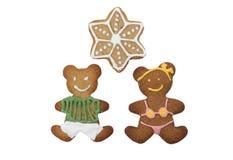 2 ursos feitos do pão-de-espécie Fotos de Stock Royalty Free