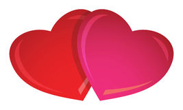 2 Valentine's hearts. Illustration of two lovely Valentine's hearts standing together - EPS vector available Stock Photos