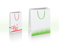 2 vector bags. Illustration of two vector bags, white with copy-space Stock Photos