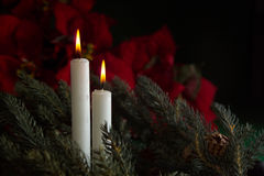 2 velas del advenimiento Imagen de archivo libre de regalías