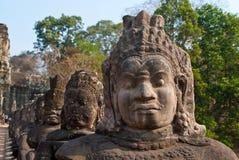 2 visages d'angkor déclenchent le thom du sud Image libre de droits