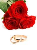 соединяет розы 2 золота wedding Стоковое Фото