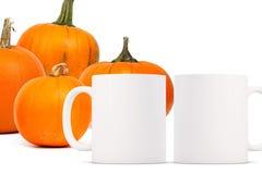 Free 2 White Blank Coffee Mugs Autumnal Theme Mock Up. Stock Photos - 126569003