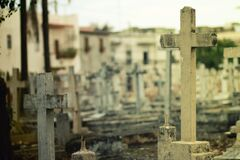 2 White Headstone Inside Cemetery during Daytime Stock Photography