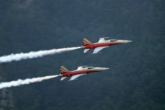 2 White and Red Jet Planes during Daytime Stock Photo