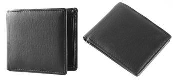 2 widok czarny rzemienny portfel Zdjęcie Stock