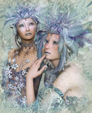 2 Winter Elves. A portrait of two winter-elves with feather crowns royalty free illustration