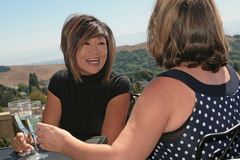 2 Women Friends Chatting and Laughing Outdoors. While Sharing Wine royalty free stock photos