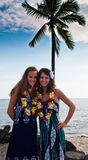 2 women by the palm. 2 young women on a Hawaiian beach Stock Photography