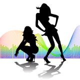 2 women shilouettes on waved  background. 2 women shilouettes on waved music background Stock Photo