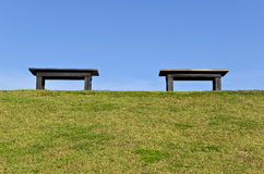 2 Wood Bench on Green Stock Photography