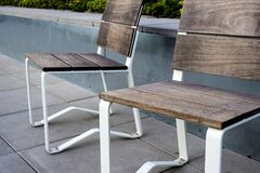 2 Wooden Chair on Top Tile Outdoor Royalty Free Stock Photos