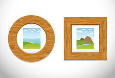 2 wooden frame with pictures. Royalty Free Stock Image