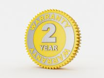 2 year warranty. 3d render of a 2 year warranty Vector Illustration