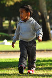 2 years old boy walking in park stock photo