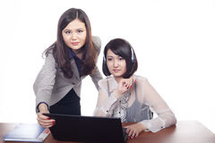 2 Young Asian Women in Business, Kazakhs. Two young girls, business women on white background Royalty Free Stock Image