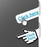 2 Zeichen der rechten Seite - klicken Sie hier Lizenzfreies Stockfoto