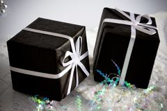 2 zwarte giftdoos Royalty-vrije Stock Foto