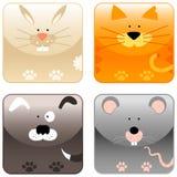 2 zwierzęcia uprawiają ziemię ikona set ilustracji