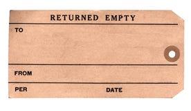 20世纪30年代打包返回的标签 库存照片