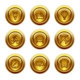20个按钮金图标设置了万维网 库存图片