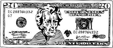 20个票据美元 免版税库存照片