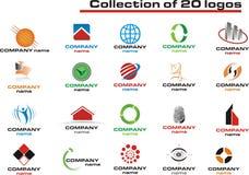 20徽标徽标被设置的向量 免版税库存照片