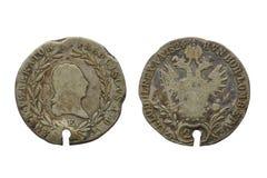 20日最初硬币上印有十字架1824年 免版税图库摄影