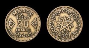 20法郎古色古香的硬币  免版税库存图片