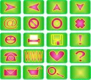 20绿色图标粉红色集 免版税库存照片