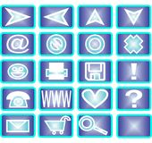 20 ícones azuis Fotos de Stock