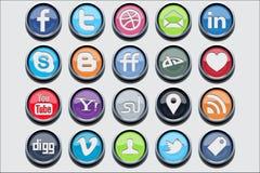 20 ícones sociais do clássico dos media Fotografia de Stock Royalty Free
