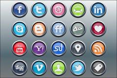 20 ícones sociais dos media inserir de prata Fotografia de Stock