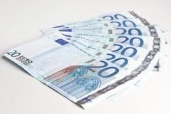 20 ευρώ που τίθεται Στοκ φωτογραφία με δικαίωμα ελεύθερης χρήσης