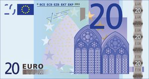 20 ευρώ τραπεζογραμματίων διανυσματική απεικόνιση