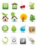 20 зеленых установленных икон Стоковые Фотографии RF