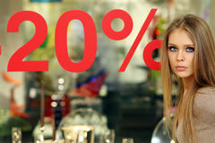 20%. Shopping sale % - one young woman Royalty Free Stock Photos