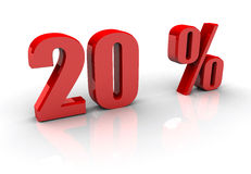 20 %. 20 Percentage Sign in 3d Royalty Free Stock Photo
