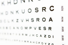 20/20 eye chart test A in focus Royalty Free Stock Image