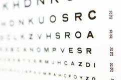20/20 prueba A de la carta de ojo en foco Imagen de archivo libre de regalías