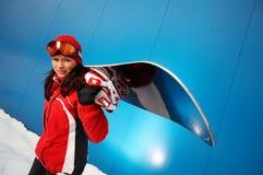 20 25 dorosłych pełnoletni żeński snowboarder Fotografia Stock
