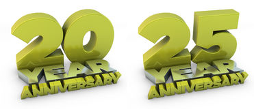 20 and 25 year anniversary Royalty Free Stock Image