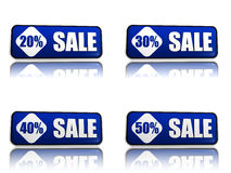 20, 30, 40, 50 percentage off sale blue banners. 3d blue banners like button with text sale and 20 30 40 50 percentages, business concept Royalty Free Stock Photography