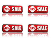 20, 30, 40, 50 percentage off sale red banners. 3d red banners like button with text sale and 20 30 40 50 percentages, business concept Stock Photo