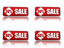 20, 30, 40, porcentagem 50 fora das bandeiras do vermelho da venda Foto de Stock