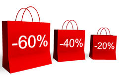 20, 40, and 60 Percent Off Shopping Bags. Rendered shopping bags indicating 20, 40, and 60 percent off vector illustration